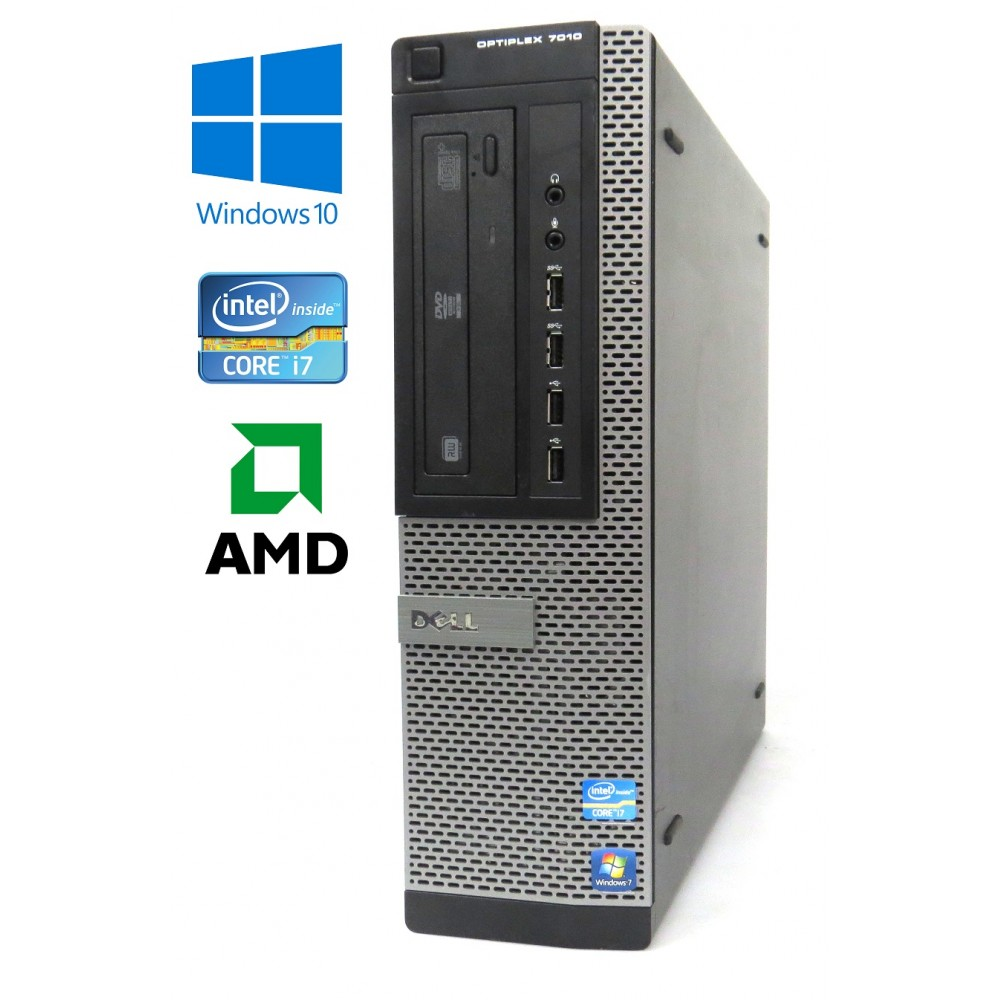 Dell Optiplex 7010 DT - Intel i7-3770, 16GB, 256GB SSD + 500GB HDD, Radeon HD 7470, W10P