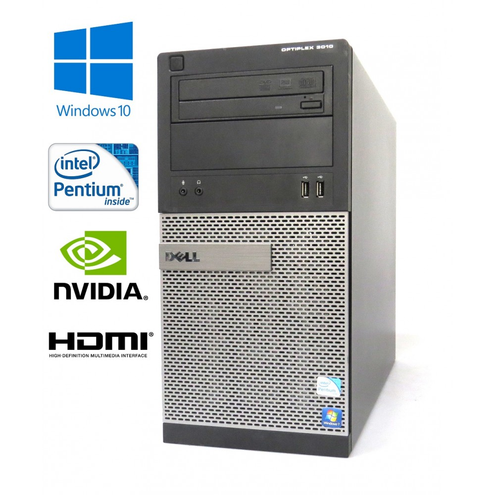 Dell Optiplex 3010 MT - Pentium G2020/2.90GHz, 8GB, 256GB SSD,DVD-RW, Nvidia GT710, Windows 10