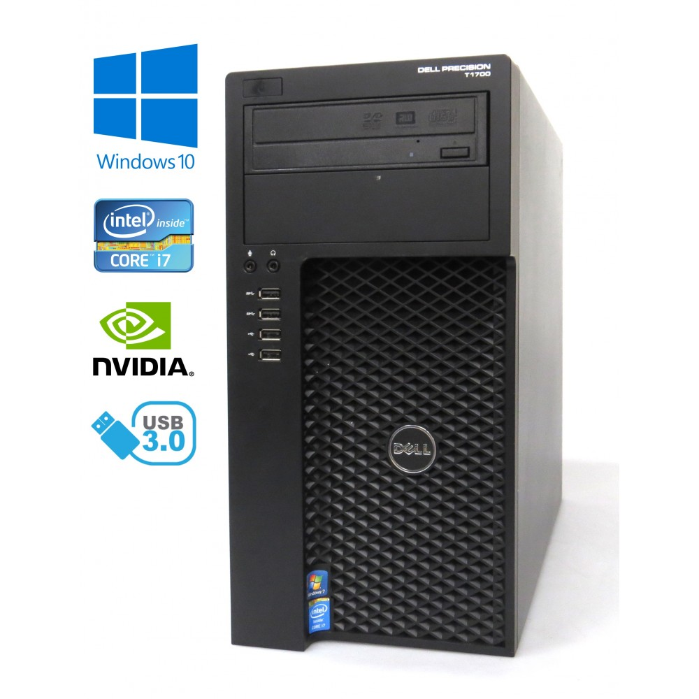 Dell Precision T1700 MT - Intel i7-4770/3.40GHz, 32GB RAM, 256GB SSD + 500GB HDD, NVIDIA K2000, Windows 10, STAV B