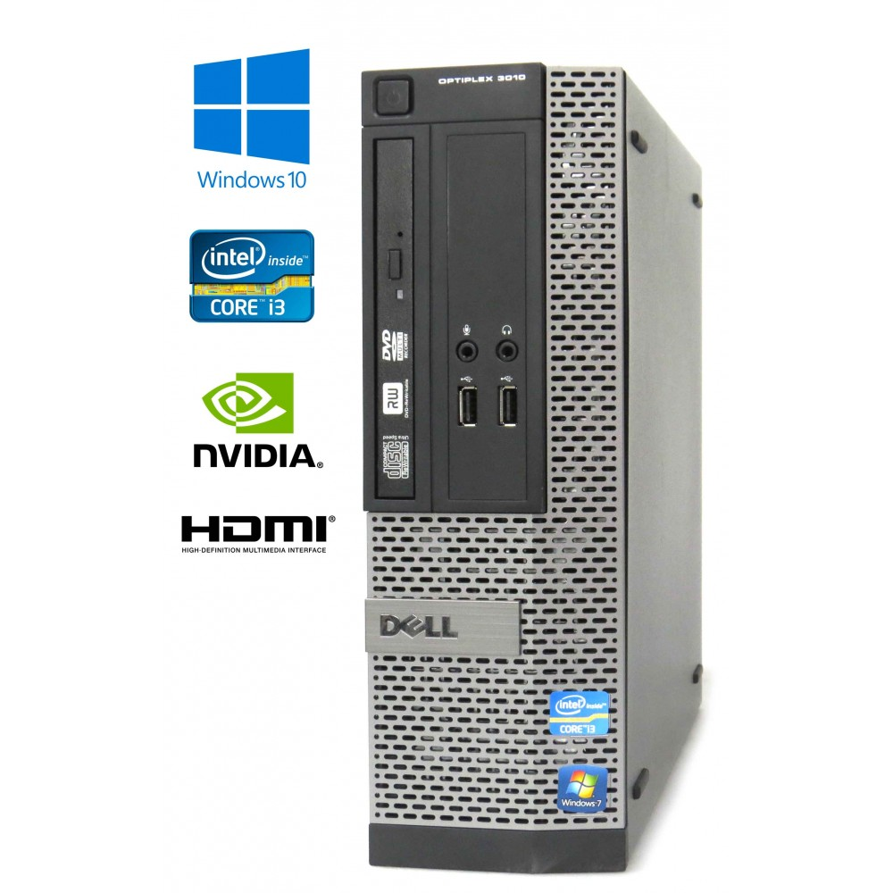 Dell Optiplex 3010 SFF - Intel i3-3220/3.30GHz, 8GB RAM, 250GB SSD, DVD-RW, Nvidia GT, Windows 10