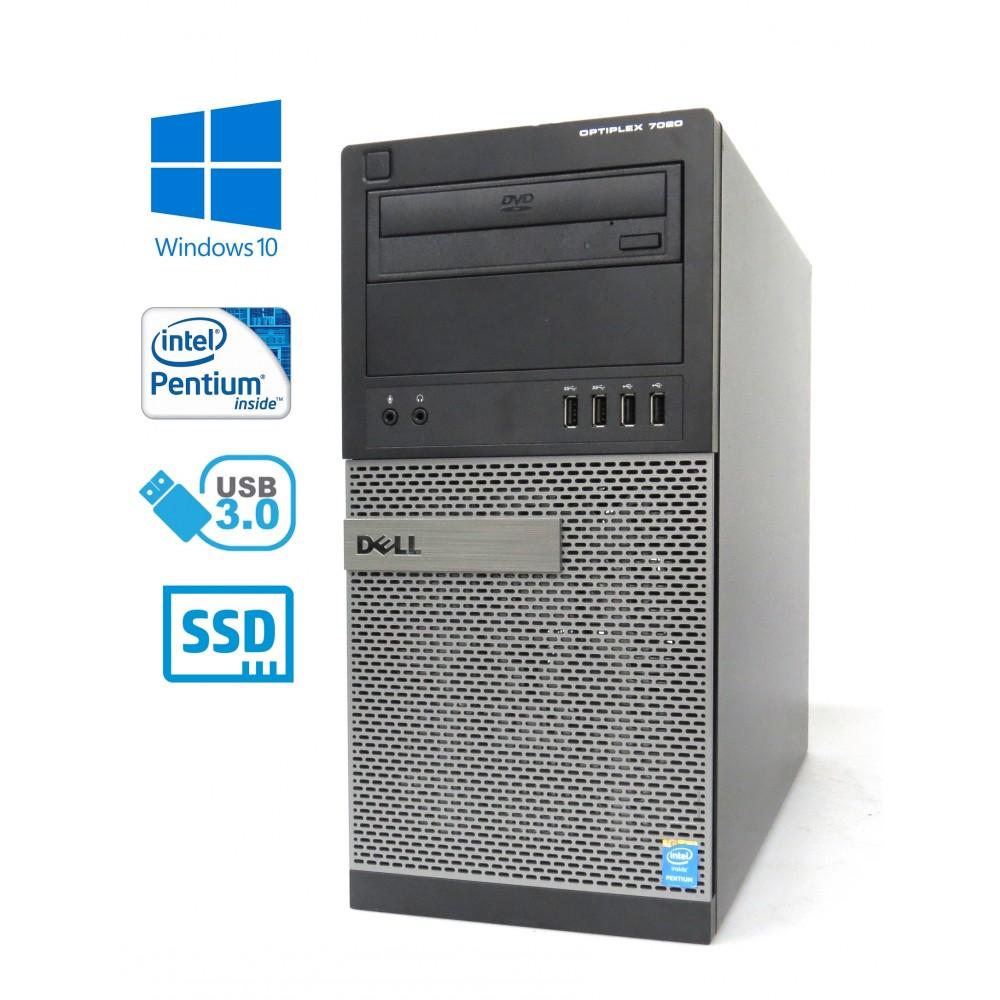 Dell Optiplex 7020 MT - Pentium G3240/3.10GHz, 8GB RAM, 128GB SSD + 500GB HDD, DVD-ROM, Windows 10