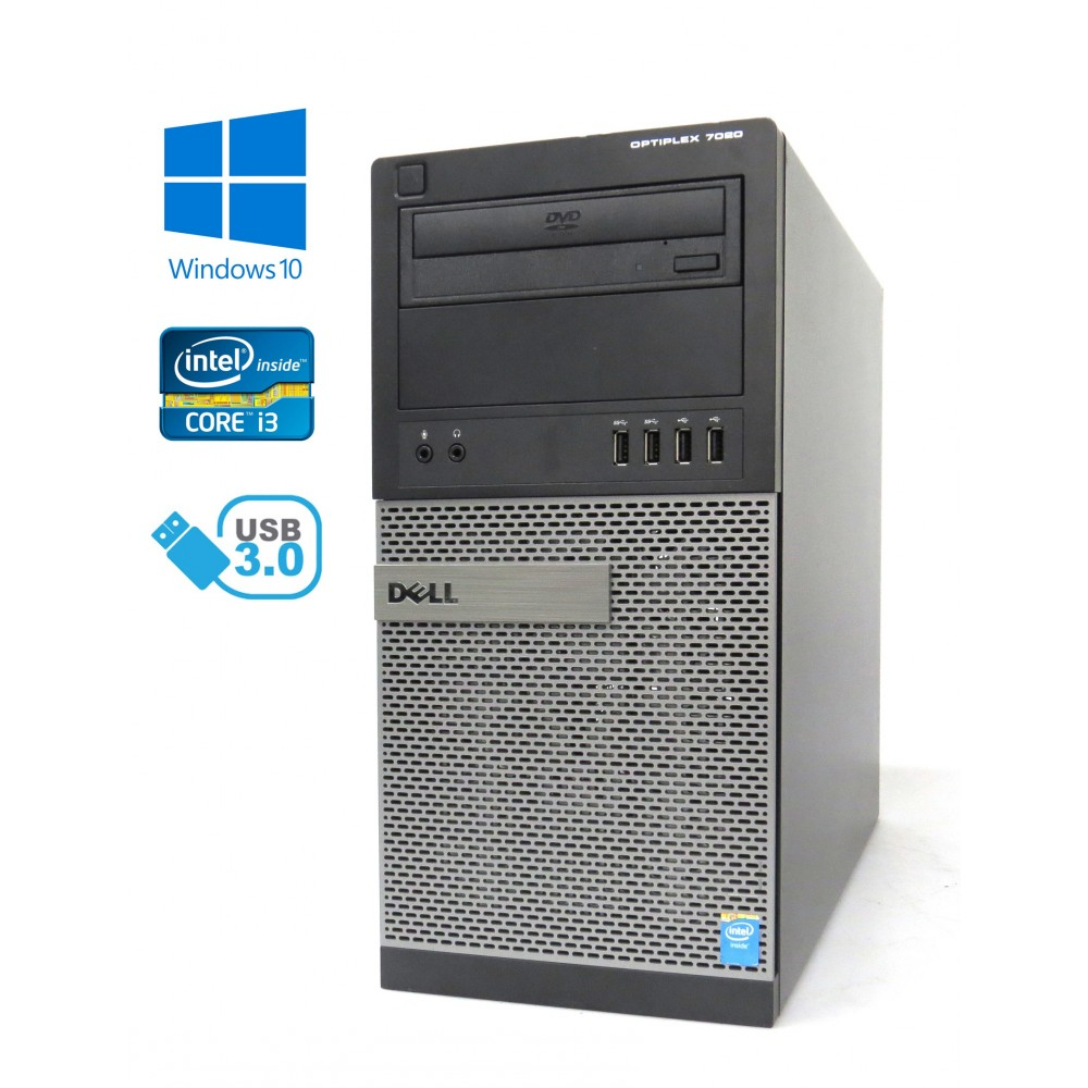 Dell Optiplex 7020 MT - Intel i3-4160/3.60GHz, 8GB RAM, 500GB HDD, DVD-ROM, Windows 10
